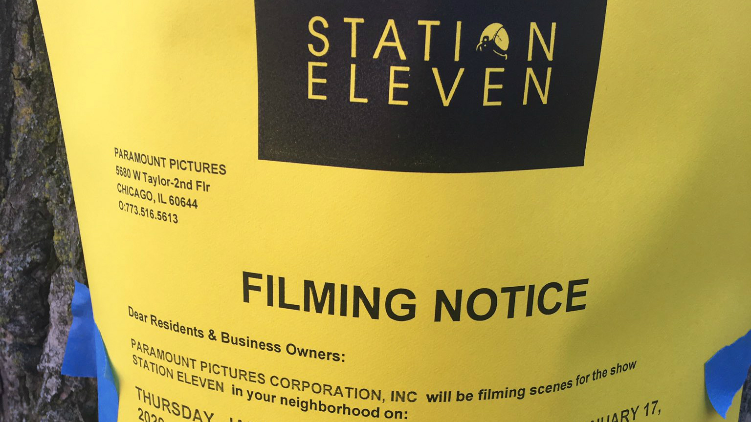"A photo of a filming notice for ""Station Eleven"" shared on Twitter."