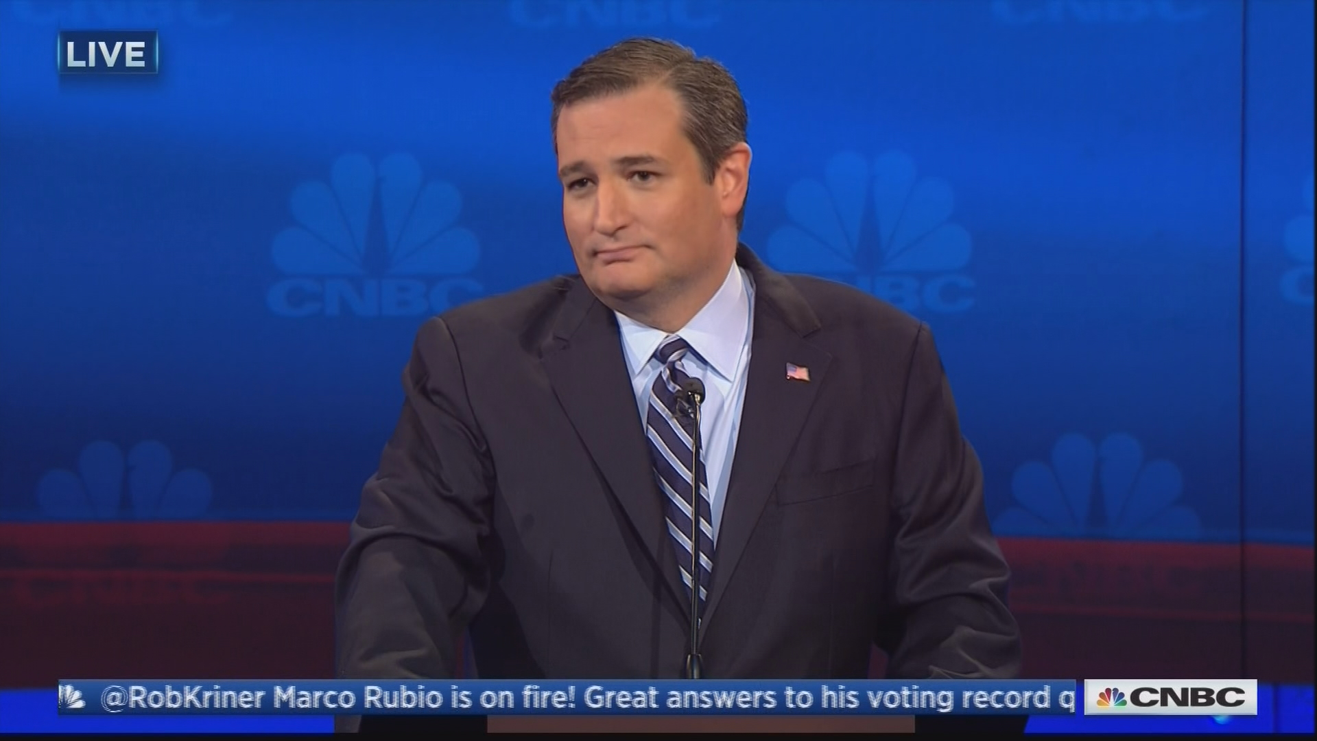 Sen. Ted Cruz, calling out the CNBC moderators.