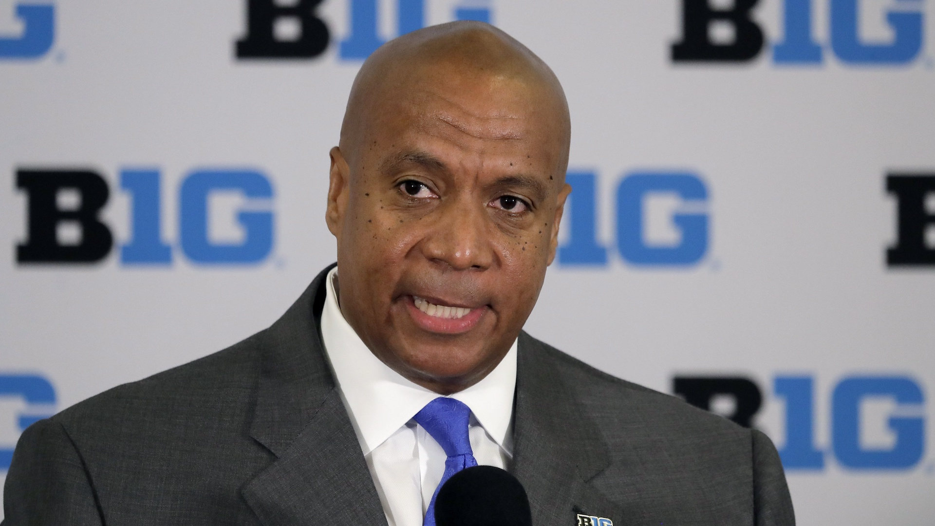 In this June 4, 2019, file photo, Kevin Warren talks to reporters after being named Big Ten Conference Commissioner during a news conference in Rosemont, Ill. (AP Photo/Charles Rex Arbogast, File)