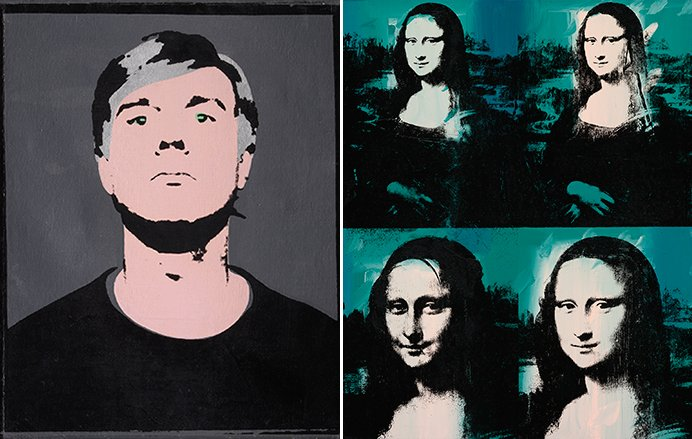 Left: Andy Warhol. Self-Portrait, 1964. Right: Andy Warhol. Mona Lisa Four Times, 1978. (The Art Institute of Chicago, Gift of Edlis/Neeson Collection. © 2015)