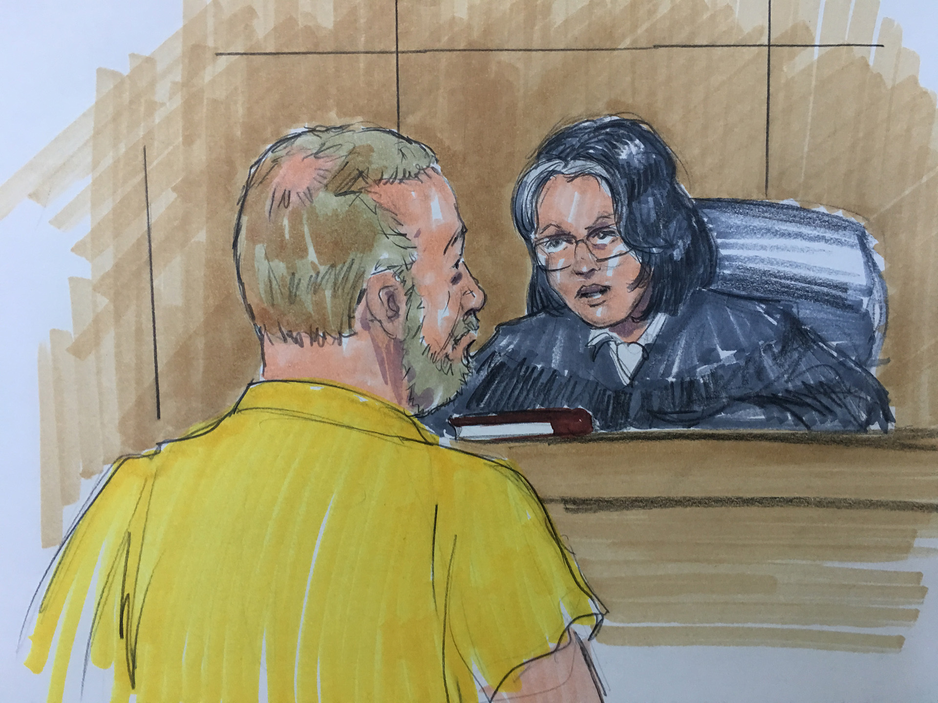 Andrew Warren entered not guilty pleas on six first-degree murder charges Thursday. (Courtroom sketch by Thomas Gianni)