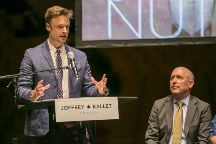 Christopher Wheeldon addresses the crowd Monday morning at the Auditorium Theatre (Todd Rosenberg)