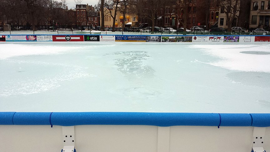 A photo shows the damage caused to the Wicker ICE rink by trespassers on New Year's Eve. (Courtesy of the Wicker ICE Committee)