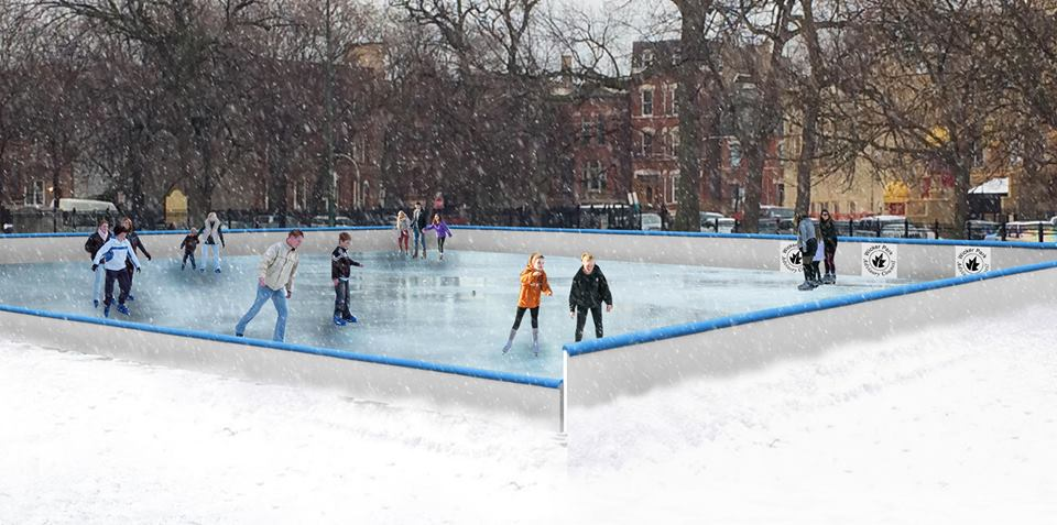 An artist's rendering of Wicker Park's new community-funded outdoor skating rink. (Design by Culliton Quinn Landscape Architecture)