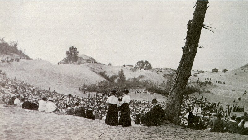 Dunes Pageant, June 3, 1917. (Photo, Paul B. Dudley) In this photo, Frank Dudley sits just underneath the tree.