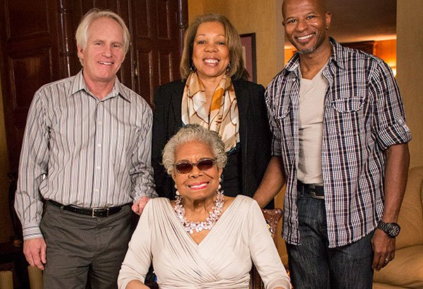 Bob Hercules, far left, Rita Coburn Whack, Keith Walker, right, and Maya Angelou at her house in N.C. last January