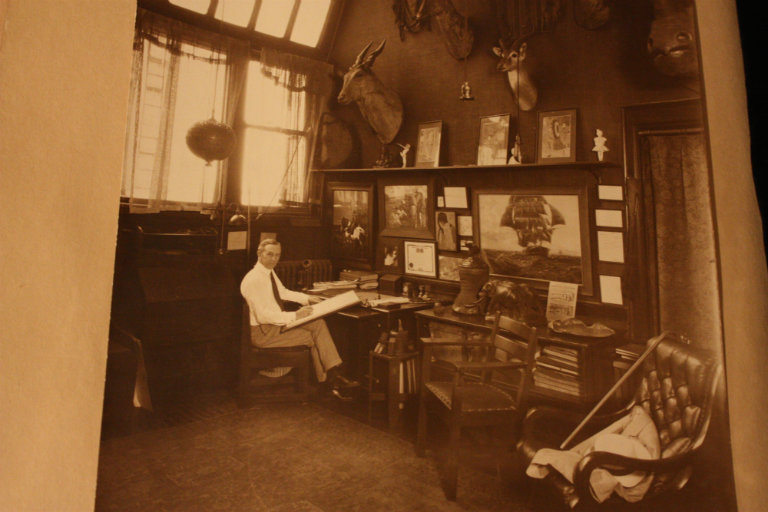 John T. McCutcheon in his workspace at the Fine Arts Center (Courtesy of the Newberry Library)