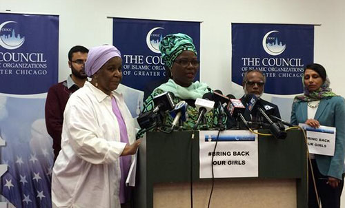 Two local Islamic organizations speak at a press conference in Chicago.