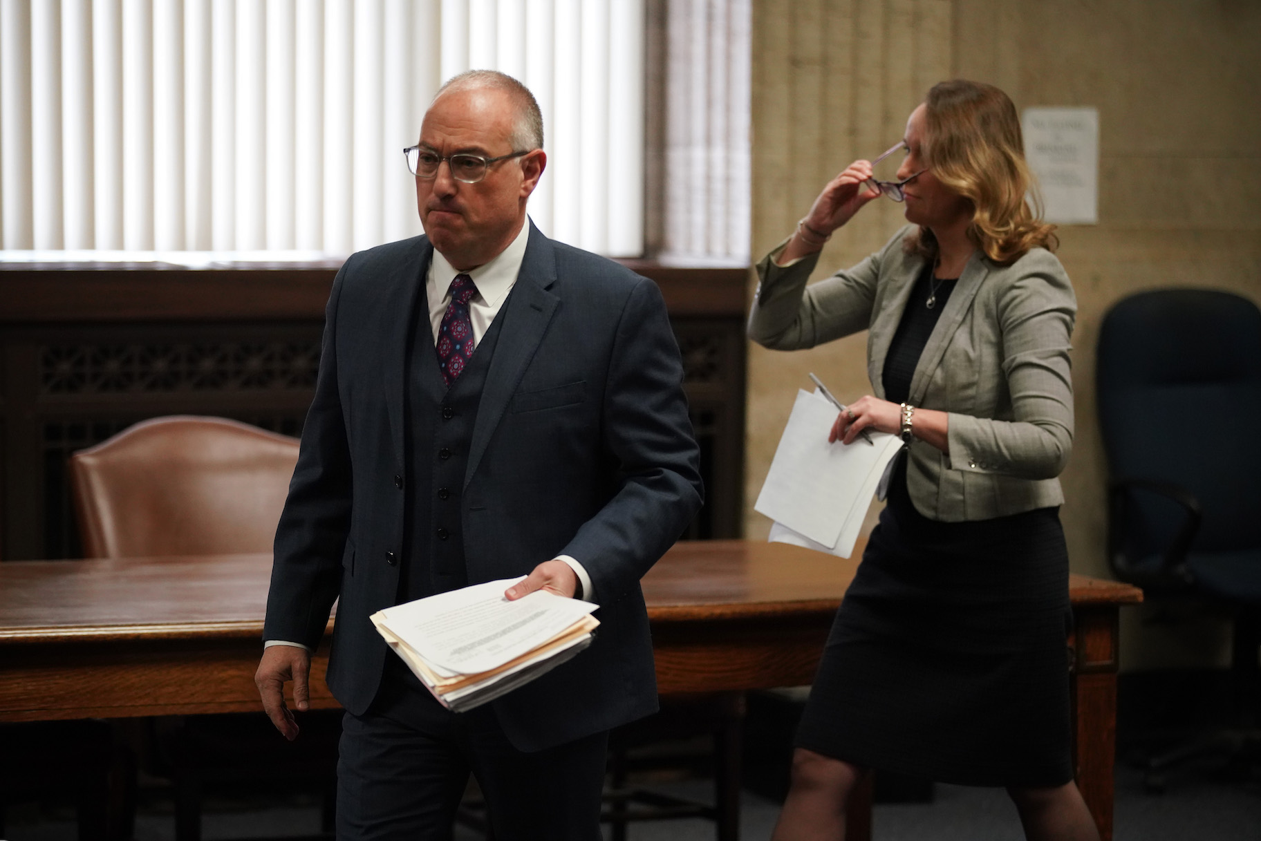 Steve Greenberg, attorney for R. Kelly, files a motion before Judge Lawrence Flood requesting law enforcement officials preserve all communications between prosecutors and attorney Michael Avenatti, at Leighton Criminal Court Building, Monday, April 1, 2019. (E. Jason Wambsgans/Chicago Tribune/Pool)