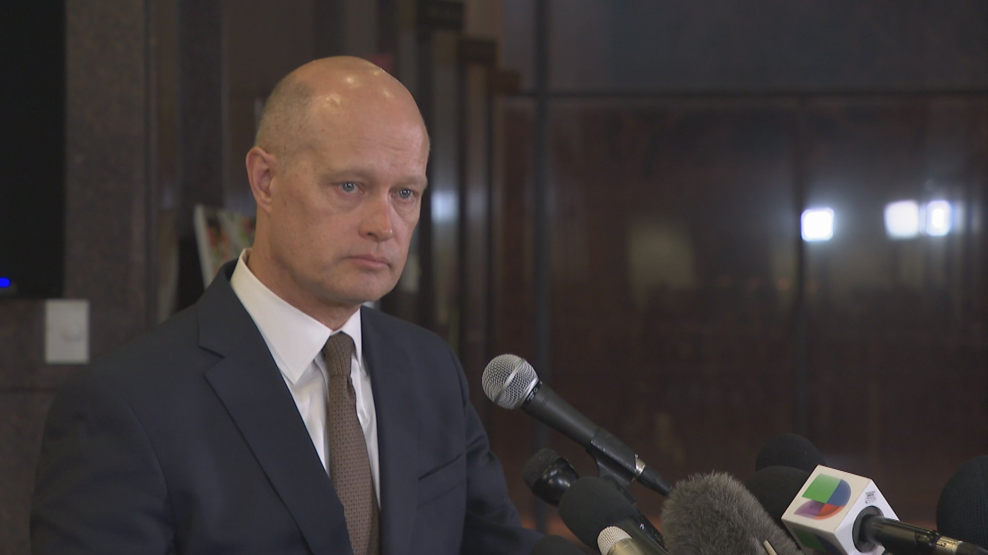Special prosecutor Joseph McMahon addresses the media shortly after Jason Van Dyke's sentence was announced Friday, Jan. 18, 2019.