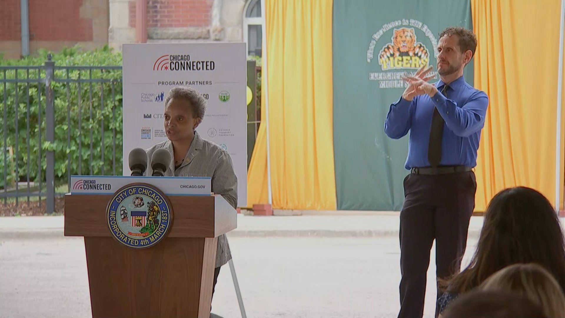 "Mayor Lori Lightfoot announces the launch of ""Chicago Connected"" on Thursday at Evergreen Middle School. (City of Chicago)"