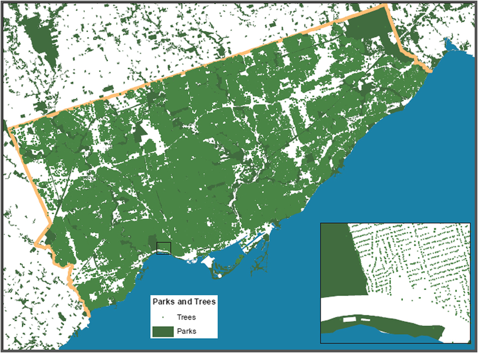 Tree canopy maps detail green spaces in Toronto, Canada.
