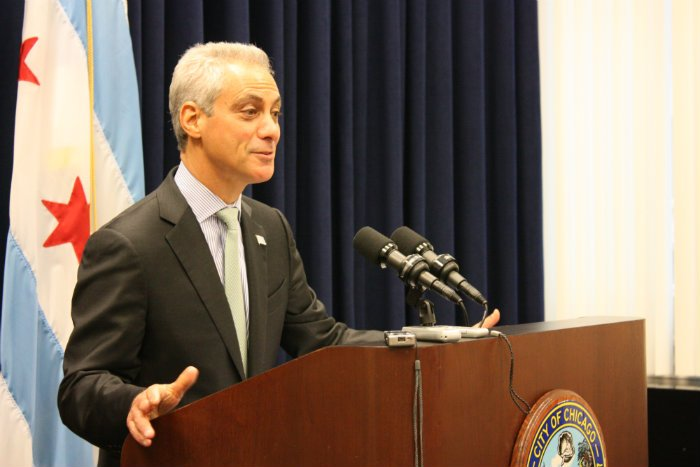 Mayor Rahm Emanuel at a press conference following Wednesday's City Council meeting. (Chloe Riley)