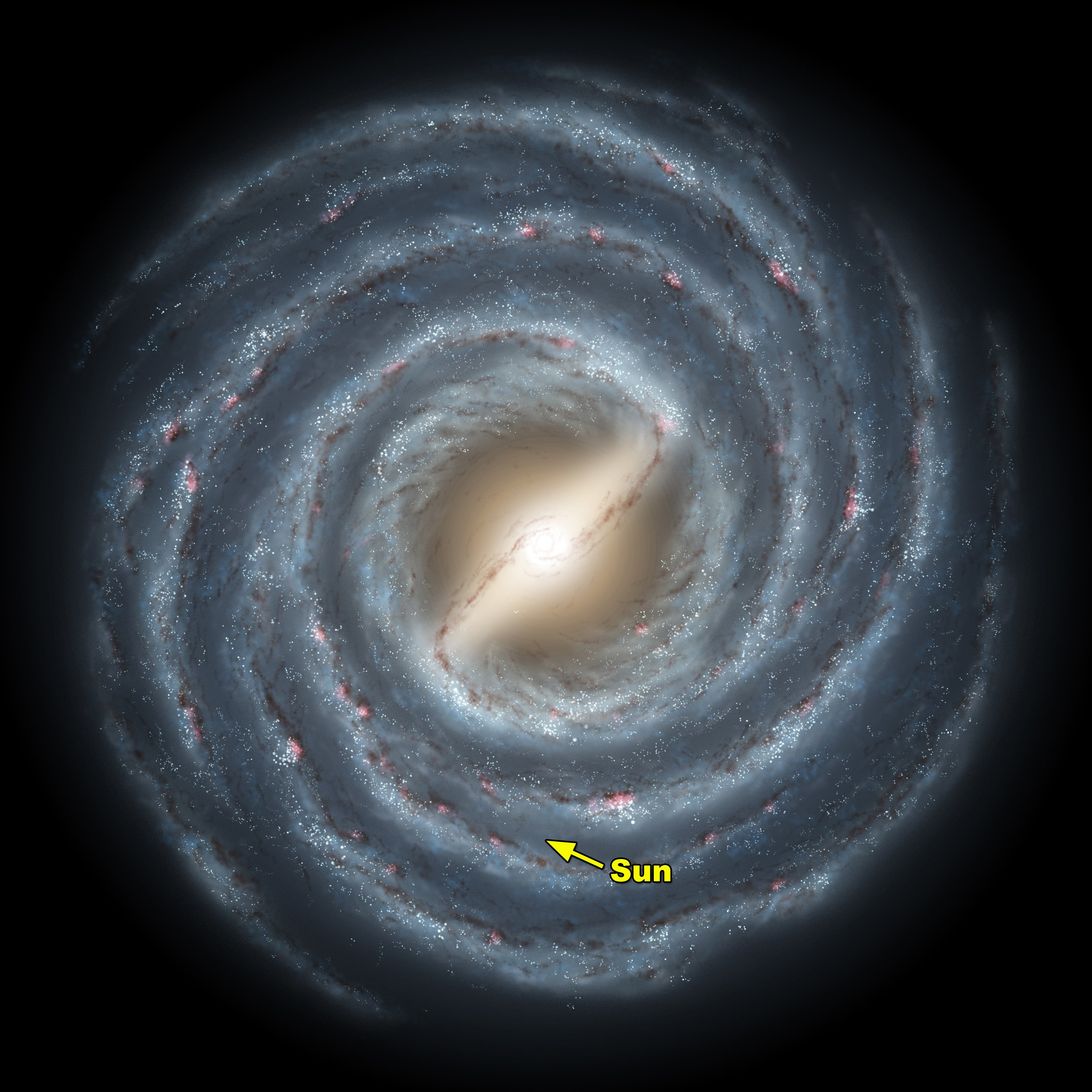 An artist's impression illustrating the position of the Sun and our solar system within the Milky Way.