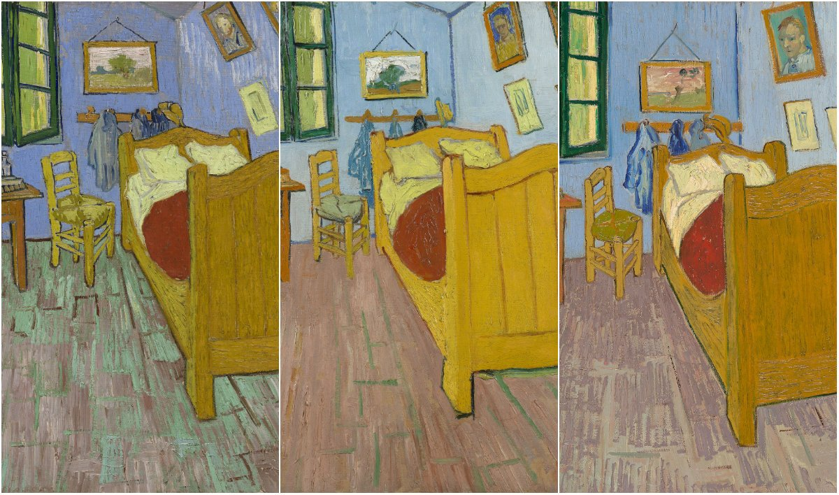 Three variations of Vincent van Gogh's The Bedroom. (Courtesy of the Art Institute of Chicago)