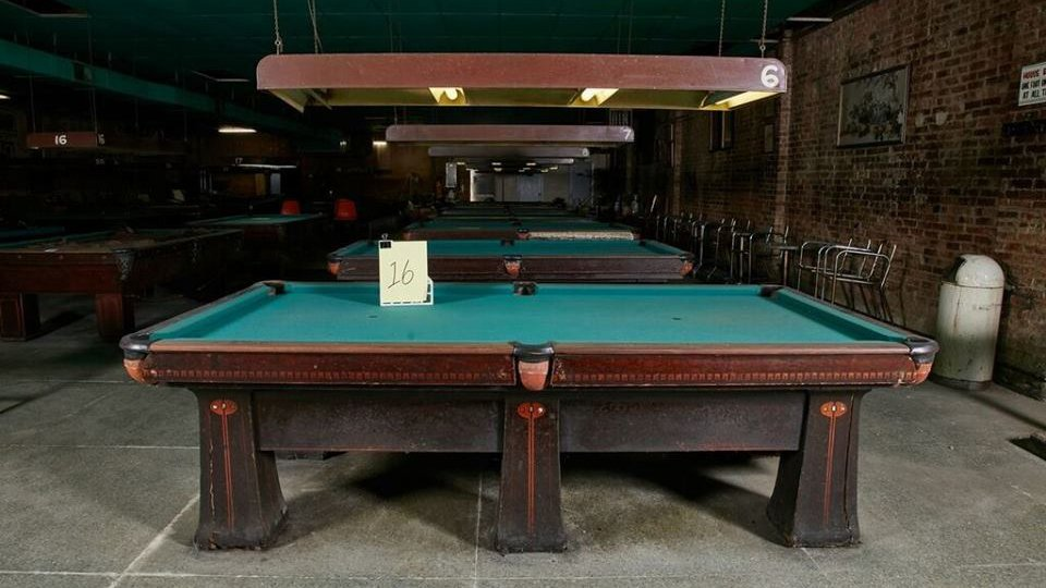 The 90 Year Old Brunswick Billiards Tables Weigh More Than 2,800 Pounds And  Can