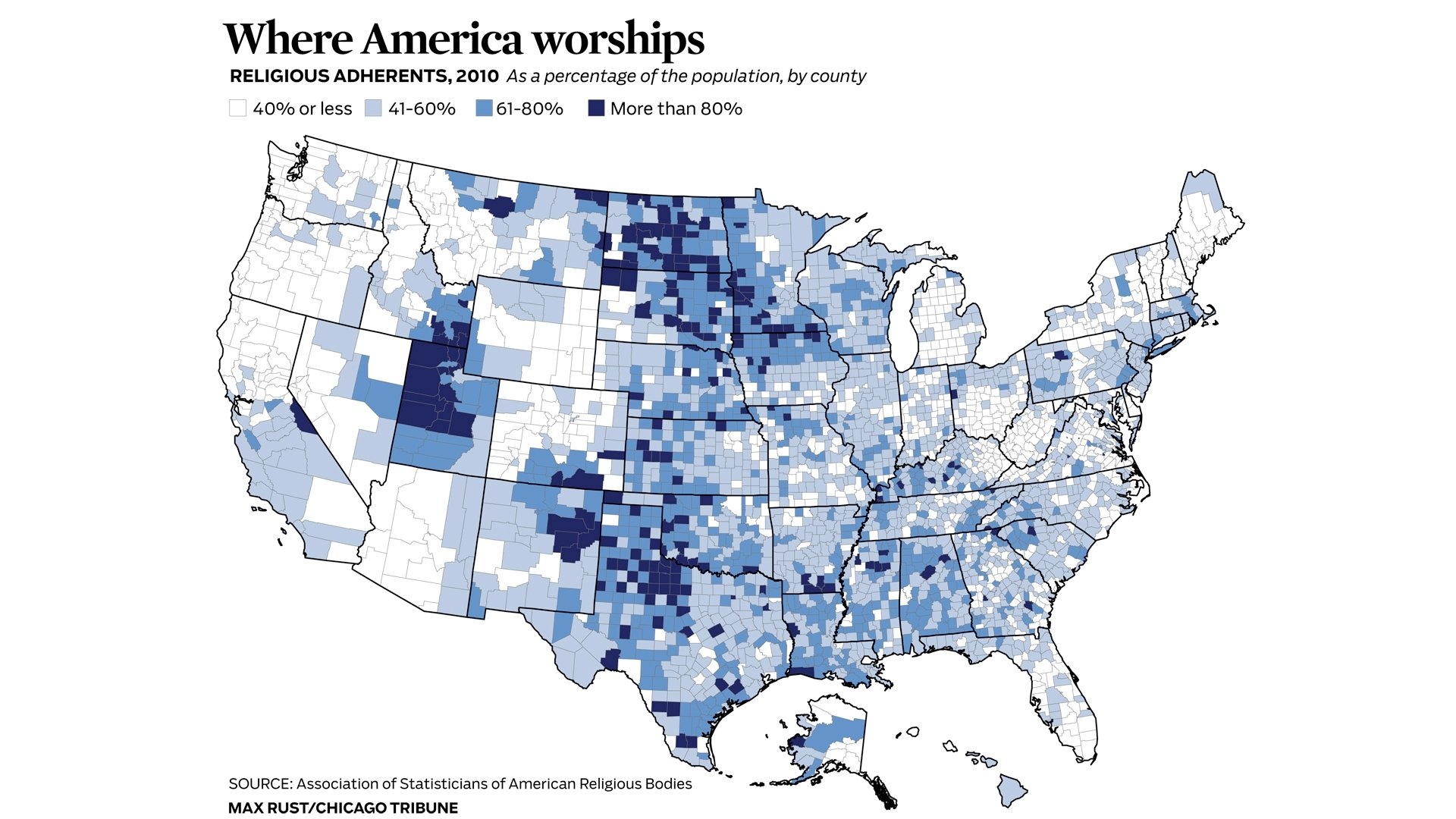 Map Of America Showing Chicago.Religion Census Chicago News Wttw