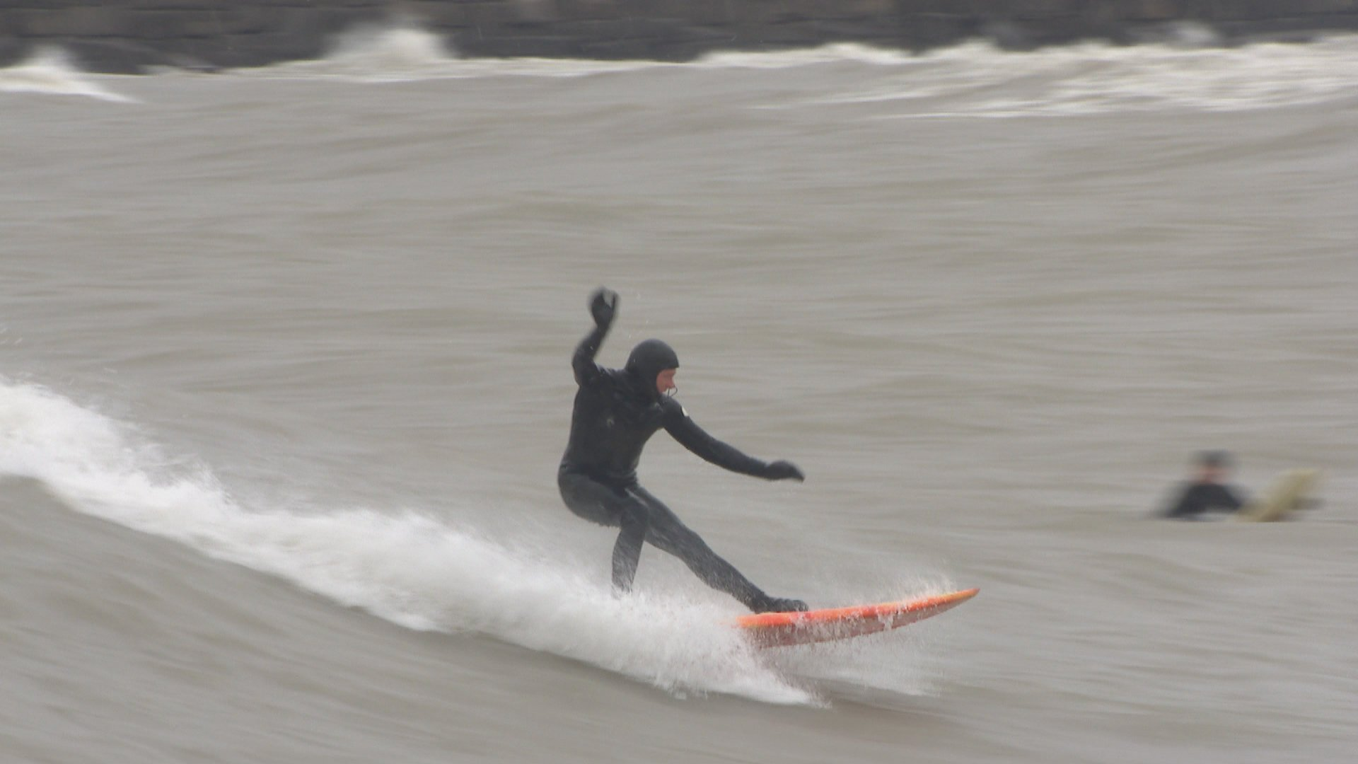 Surfers On Lake Michigan Battle High Waves Heavy Winds