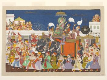 Procession of Ram Singh II of Kota, Opaque watercolor on paper; Credit: Procession of Ram Singh II of Kota, c. 1850 © Victoria and Albert Museum, London; click image to view photo gallery