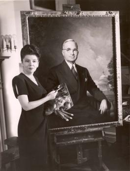 Greta Kempton with her portrait of President Harry Truman; courtesy of the Kempton Foundation