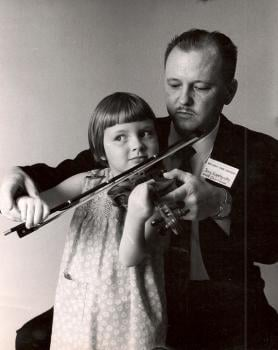 Melanie with her father at age 4; she learned to read music before she could read words; photo courtesy of Arthur Montzka