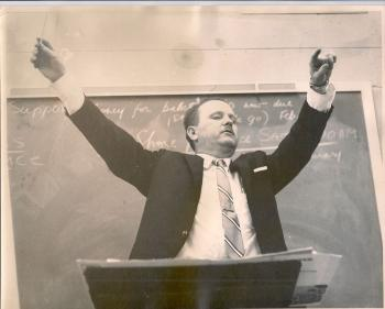 Mr. K conducting in the 1960's with closed eyes, getting lost in the music; photographer unknown