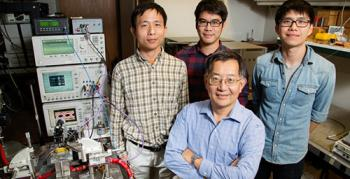 University of Illinois engineers  –  from left, postdoctoral researcher  Fei Tan, graduate students Mong-Kai Wu  and Michael Liu, led by Milton Feng, front; Courtesy of University of Illinois