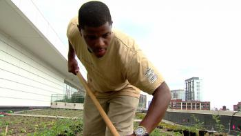 "For Kimmons, tending the rooftop garden is practice for his future career. ""I'd love to be an executive chef,"" he says. ""At least an executive chef."""