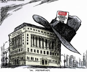 The <em>Chicago Tribune</em>'s Scott Stantis reacted to Hernandez Gomez's death with this cartoon.