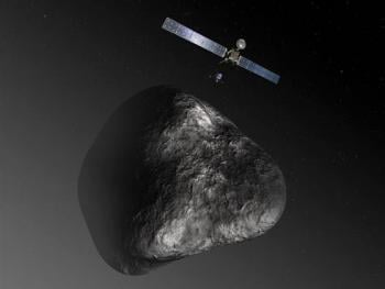 An artist's impression of the Rosetta orbiter deploying the Philae lander to comet 67P/Churyumov–Gerasimenko in August 2014; photo by ESA–C. Carreau/ATG medialab
