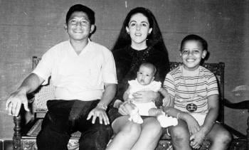 From left: Obama's stepfather Lolo Soetoro, mother Ann, half-sister Maya, and Barack; image credit: Martodihardjo family collection