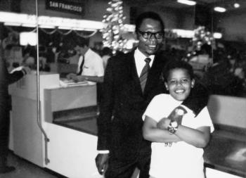 The only photograph of the two Barack Obamas, father and son, taken at airport in Hawaii when Obama Jr. was 10-years-old; image credit: Obama for America