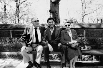 Barack Obama seated between his Kansas grandparents, in New York City; image credit: Obama for America