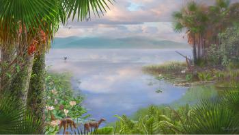 An artist's rendering of how Fossil Lake looked 52 million years ago