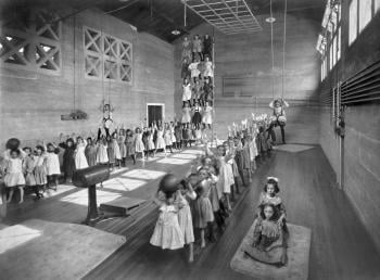 A pass-the-ball relay in a Chicago park field house, 1905. Chicago Park District archive