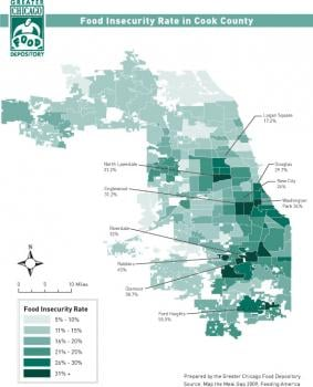 Food Insecurity Rate in Cook County. Click on image to view larger version of map.