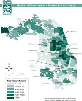 Number of Food Insecure Persons in Cook County. Click on image to view larger version of map.