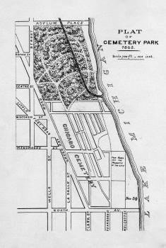 "Lincoln Park was formerly a cemetery. ""Plat of Cemetery Park, 1863,"" Chicago Park District archives"