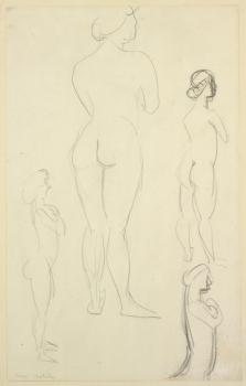 Henri Matisse, Four Studies of a Nude, ca. 1910. Crayon on paper. Gift of Mrs. Gustav Radeke, Museum of Art Rhode Island School of Design, Providence.