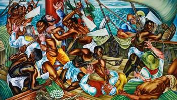 Hale Aspacio Woodruff (American, 1900–1980), The Mutiny on the Amistad, 1939, oil on canvas, 72 x 120 inches. Collection of Talladega College, Talladega, Alabama.© Talladega College. Photo: Peter Harholdt