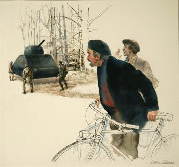 "Arthur Shilstone's painting of two Frenchmen surprised to see 4 GI's lifting a 40 tank. ""The Americans are very strong"" he told them; courtesy: Arthur Shilstone"