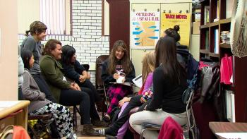 Students meet after school at Schurz High School, located in the Irving Park Neighborhood of Chicago.