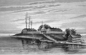 Looking south across the Chicago River with Fort Dearborn in the center and the U.S. Agency House in the foreground. Lake Michigan is off to the left in the image. (A. T. Andreas, History of Chicago [1884])