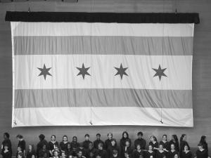 The Chicago Flag used as a backdrop for the inauguration of Mayor Rahm Emanuel, April 2011. (Betsy Keating)