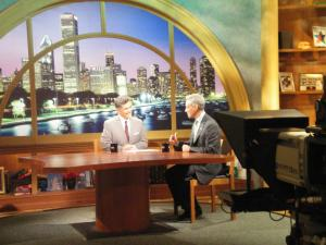 Mayor Emanuel and Phil Ponce talk on set before we begin shooting. Click here for photos.