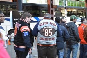 A couple of Chicago Bears fans wait in line for standby tickets before round one of the NFL Draft begins.