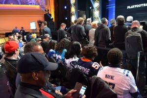 Mother's row: Reggie Wayne's mother joins other NFL players' mothers in front row seats at the draft.
