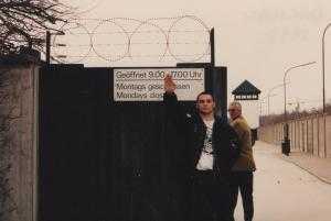 Christian Picciolini in front of Dauchau concentration camp.
