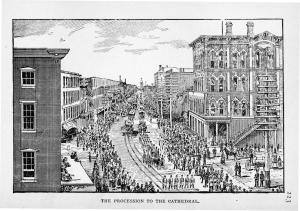 Cronin's funeral procession. In Henry M. Hunt, The Crime of the Century; or, The Assassination of Dr. Patrick Henry Cronin (Chicago: H. L. and D. H. Kockersperger, 1889), 233. Collection of the author.