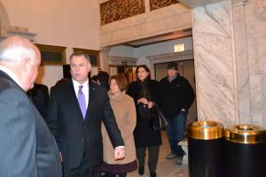 Supt. Garry McCarthy leaving the theater after seeing himself on the big screen